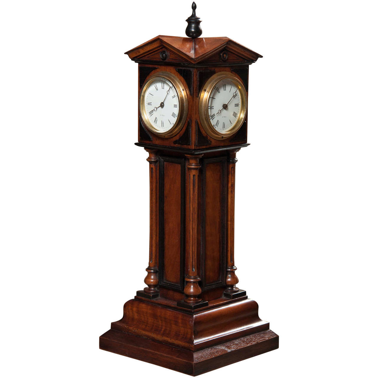 Walnut 4 Dial Tower Table Clock by Patent, Blumberg & Co, Ltd., Paris & London