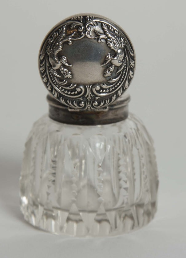 Small Cut Glass Inkwell with Embosssed Sterling Top