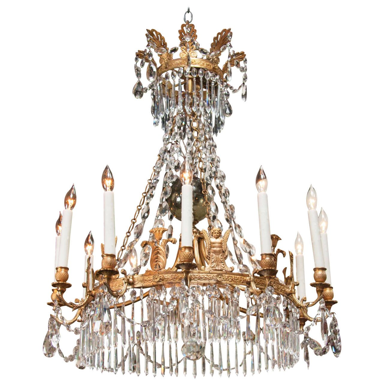 Russian Neoclassical Empire Twelve-Light Chandelier