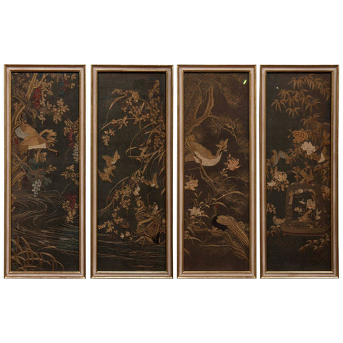 Four Framed Japanese Embroidered Silk Panels