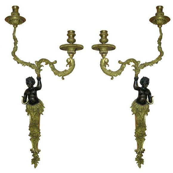Pair of Regence Bronze Putti Sconces