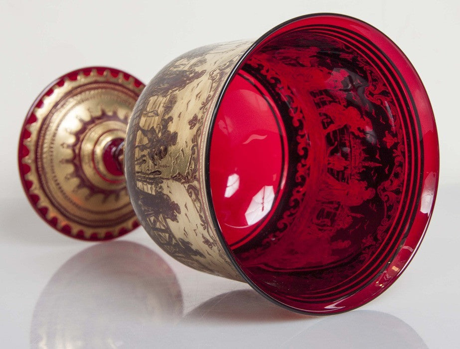 Ruby Red Venetian Goblet