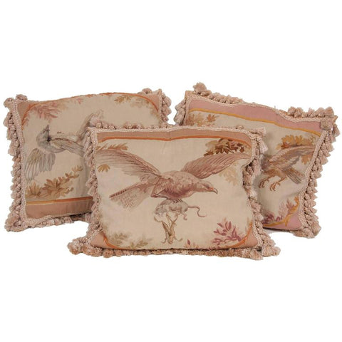 Three French Aubusson Tapestry Pillows