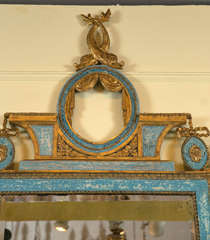 Gilt & Blue Painted Italian Looking Glass