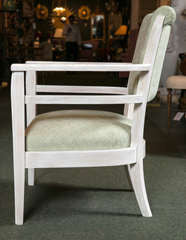 French Pickled Wood Open Armchair