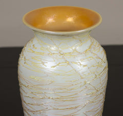Opal White & Yellow Vase by Durand