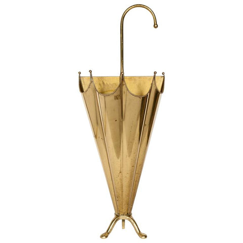 French Mid-Century Modern Footed Umbrella Stand in Brass