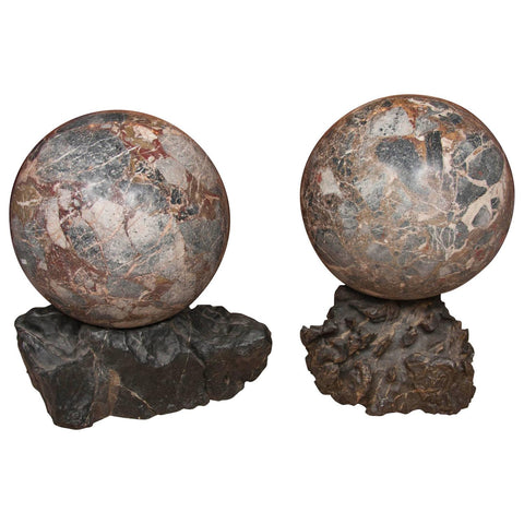 Early 20th Century Monumental Size Pair of Marble Spheres
