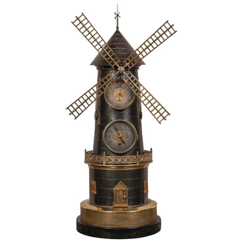 French Industrial Animated Windmill Clock