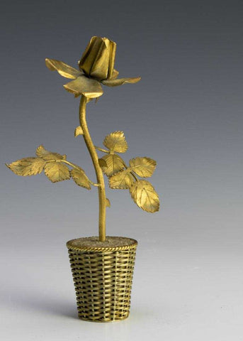 Tiffany Gold Plated Rose Sculpture