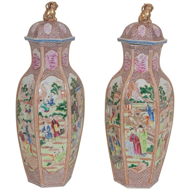 Pair of Large Chinese Export Covered Vases