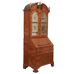 English Scarlet Gilt and Polychrome Japanned Secretary
