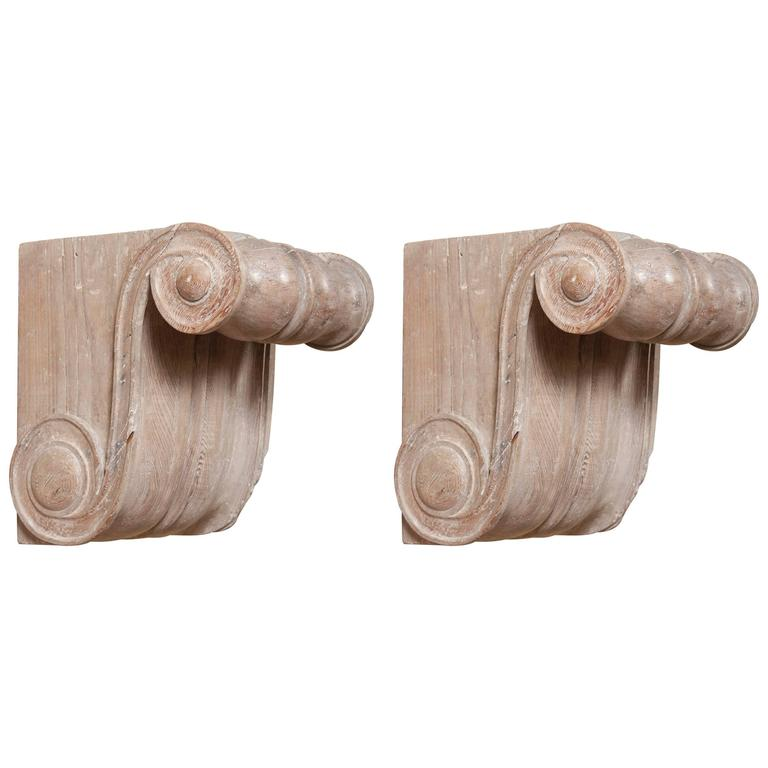 Spectacular Pair of Cypress Wood Wall Brackets