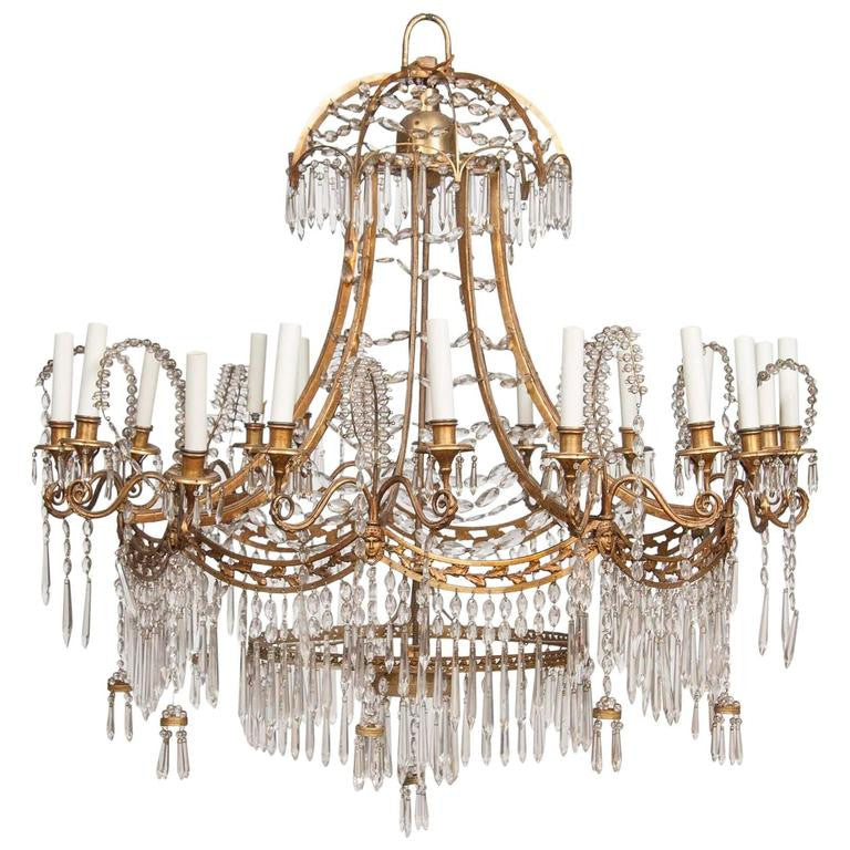 German neoclassical bronze and cut glass chandelier avery dash german neoclassical bronze and cut glass chandelier aloadofball Gallery