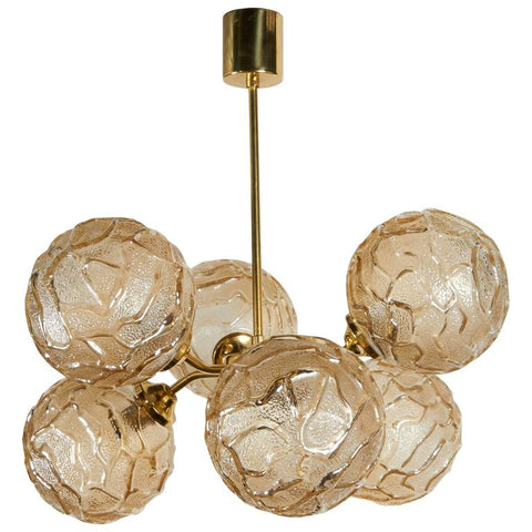 French Mid-Century Sputnik Chandelier with Champagne Glass Globes