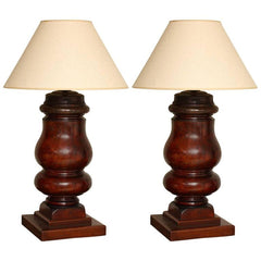 Pair of Turned Mahogany Billiard Table Legs now Lamps