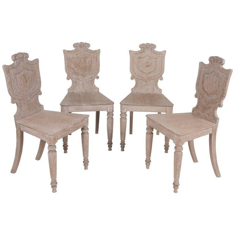 Set of Four 19th Century English Oak Hall Chairs