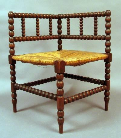 French Rush-Seat Corner Chair