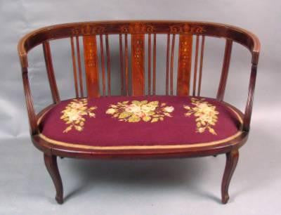 Early American Needlepoint Settee