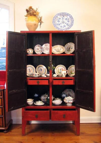 Chinese Red Lacquer Armoire
