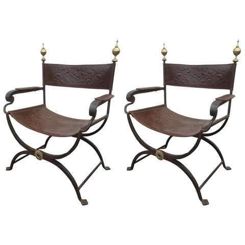 Pair of Wrought Iron Curule Chairs