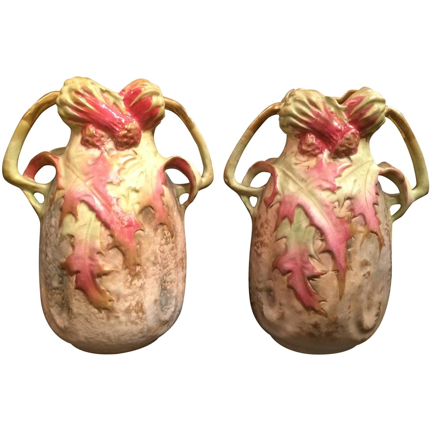 Pair of Austrian Amphora Thistle Vases
