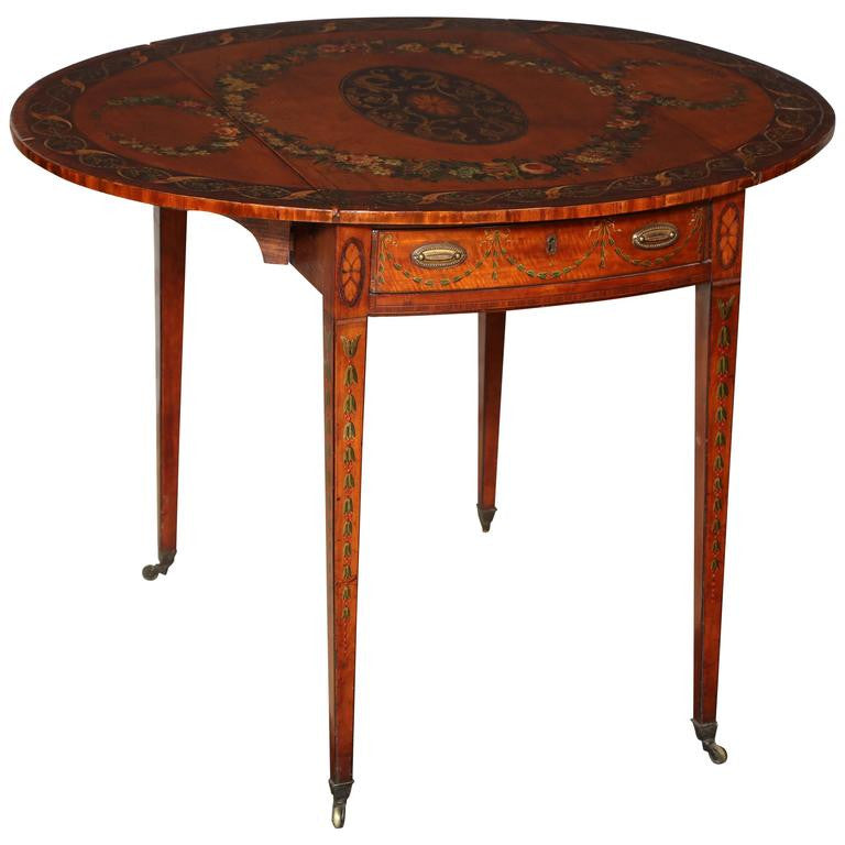Attractive George III (Adam) Satinwood Paint Decorated Pembroke Table