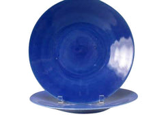 Twelve Blue Glass Bowls with Underplates