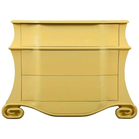 Late 20th Century Bombe Chest Now Yellow Lacquer