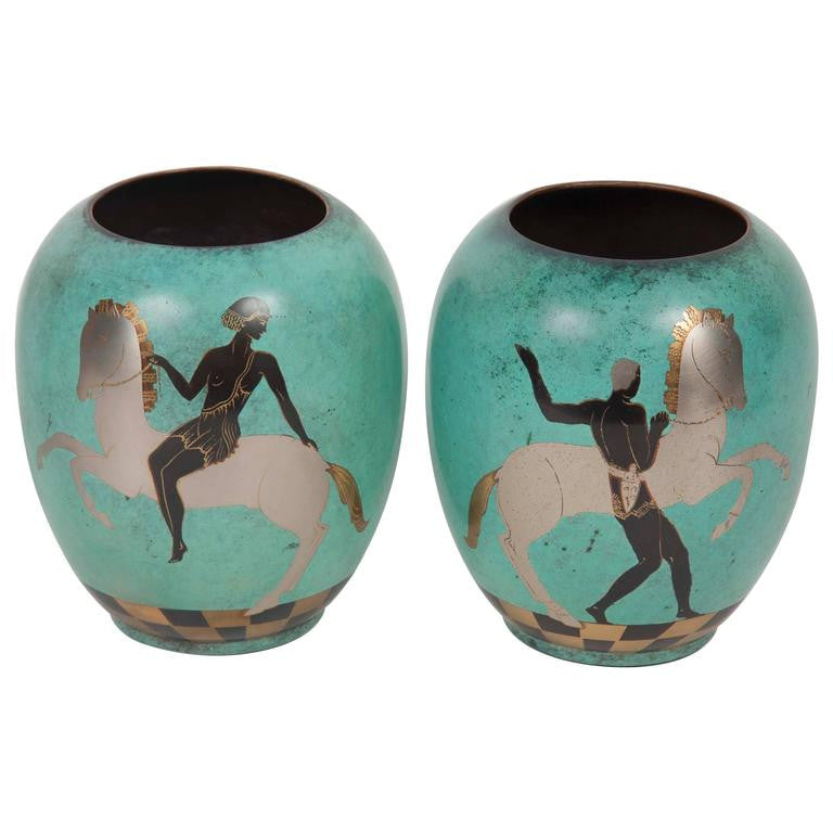 Pair Of Wmf Enamel On Copper Vases Avery Dash Collections