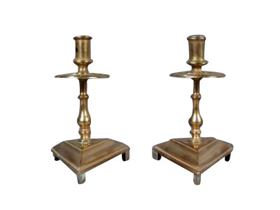 PAIR OF EARLY SPANISH BRONZE CANDLESTICKS