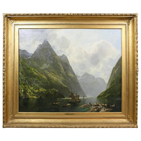 """Naers Fiord, Norway"" Oil Painting by Georg Meinzolt"