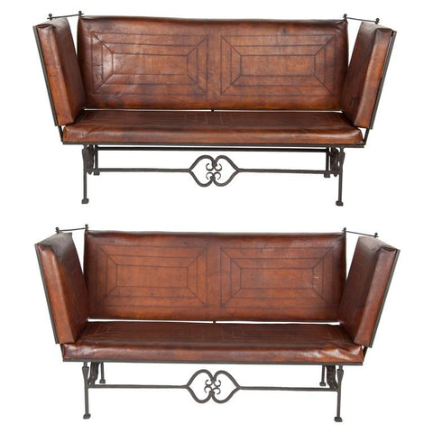Early 20th Century Leather Knoll Form Sofa
