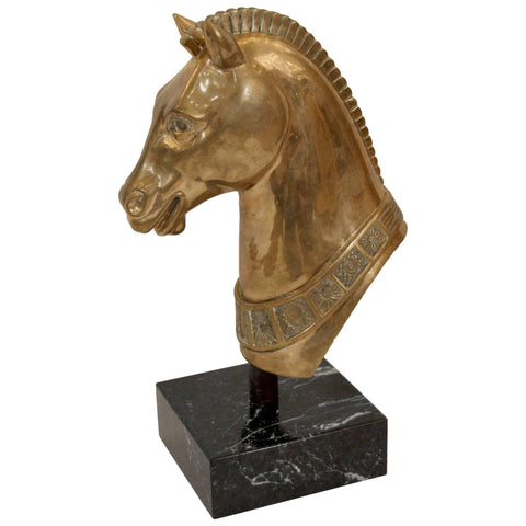 Brass Horse Head Sculpture on Marble Base