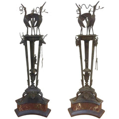 Pair of Italian Grand Tour Bronze Oil Lamps on Marble Bases
