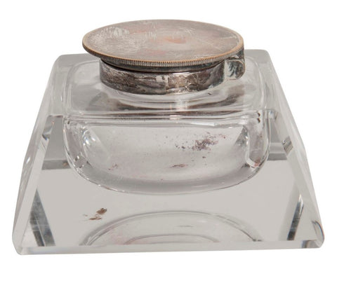 Cut Glass Inkwell with Silverplated Lid
