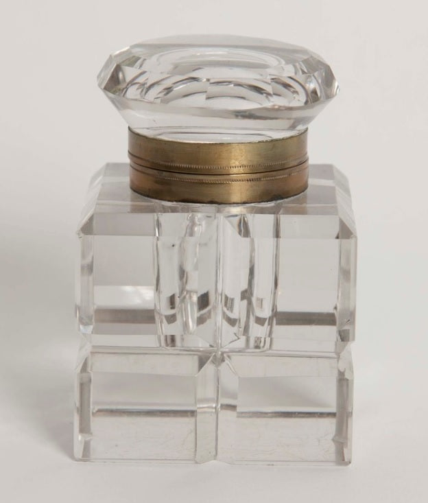 Geometric Cut Glass Inkwell with Brass Collar