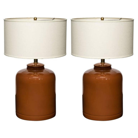 Pair of Mid-Century Modern Ceramic Table Lamps in Cognac