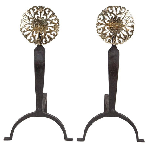 Pair of Brass Andirons with Pierced Medallions