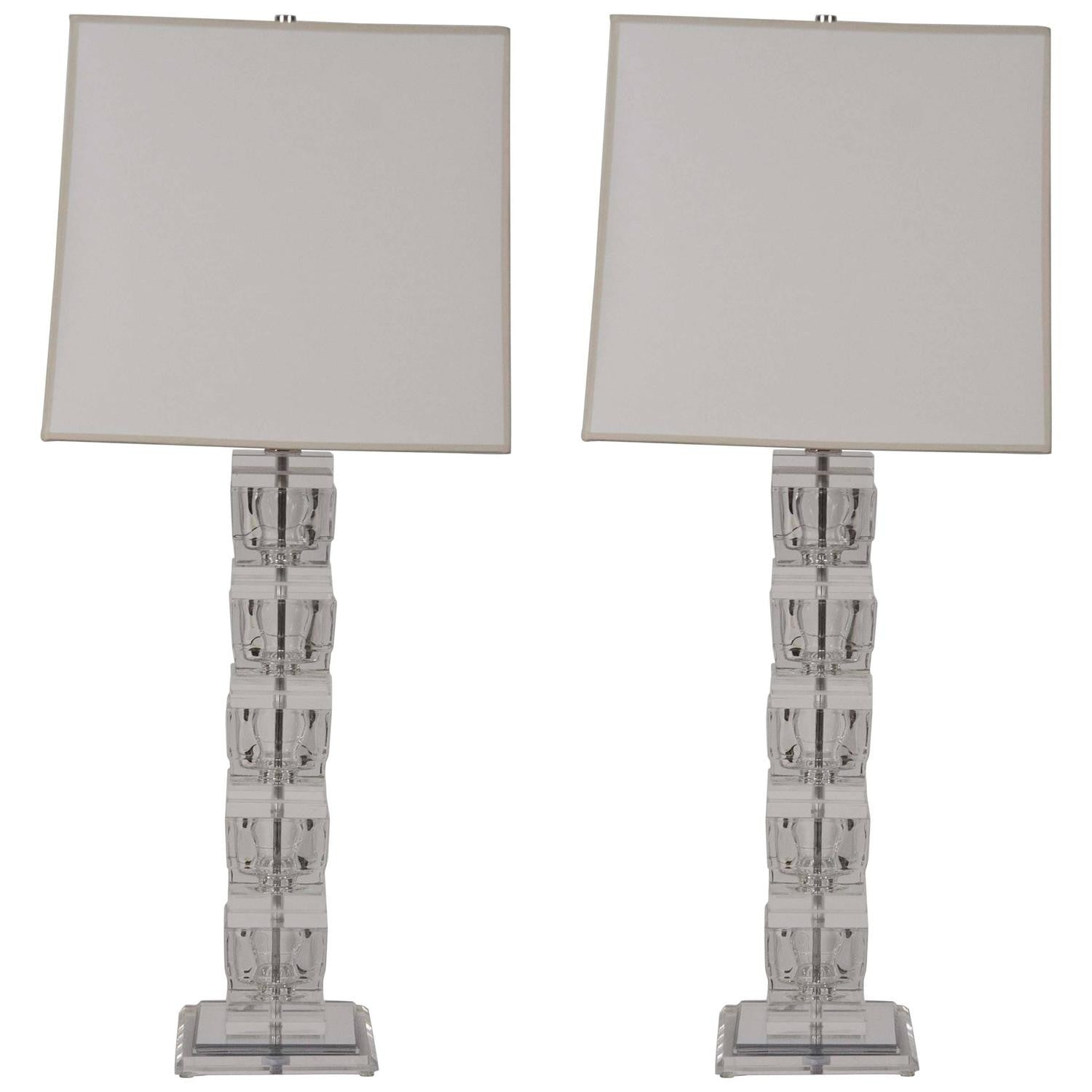 Pair of Lucite Lamps in the Style of Karl Springer