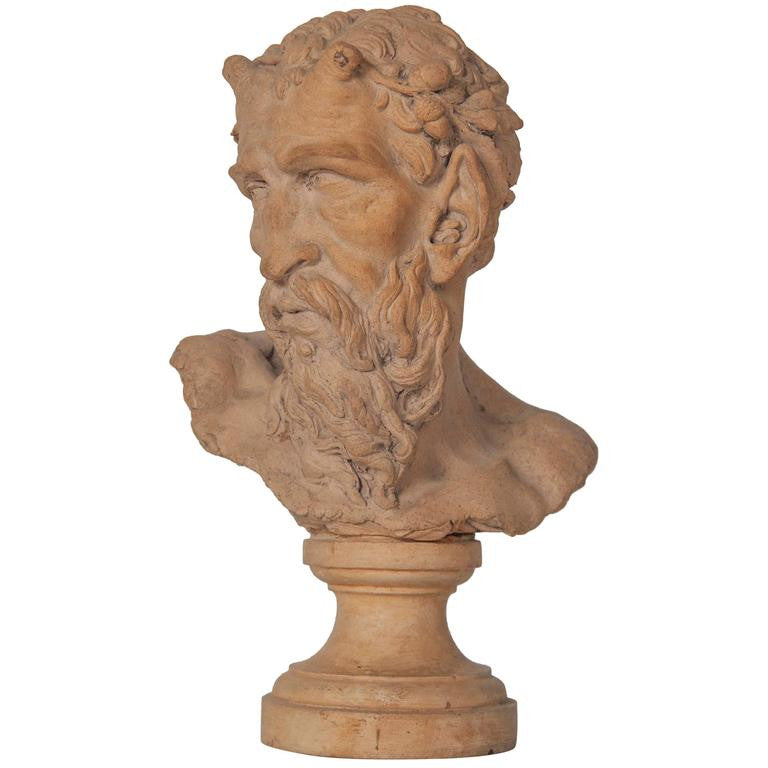 French Terracotta Bust of a Satyr