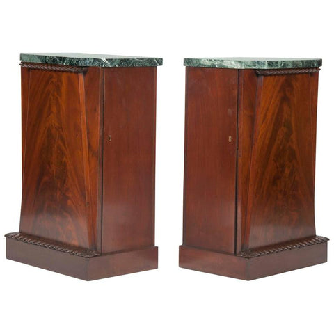 Pair of American Empire Mahogany Veneer Side Cabinets