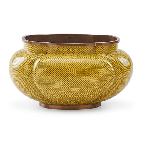 Chinese Yellow Cloisonné Bowl