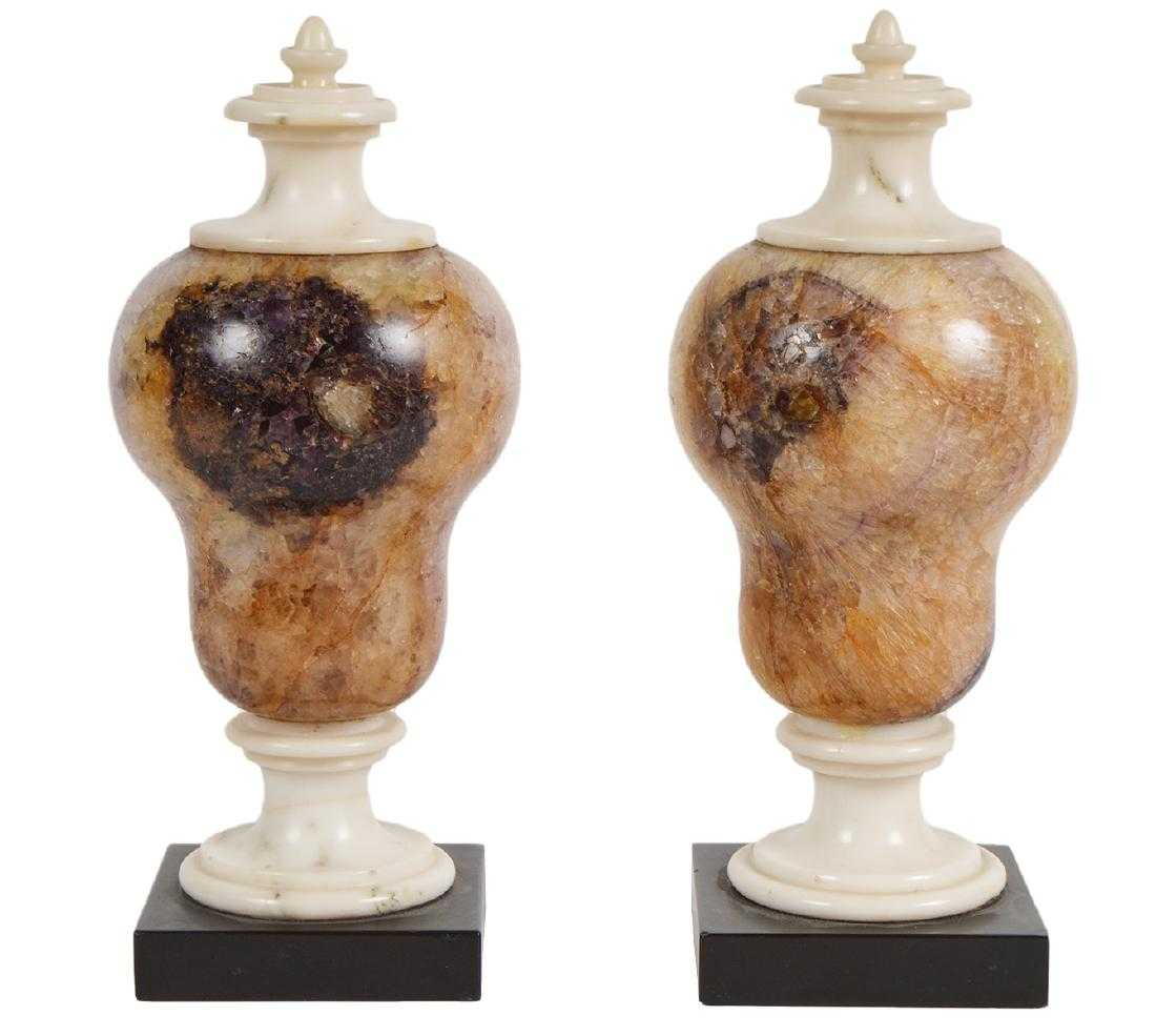 Pair of Blue John fluorspar decorative Urns