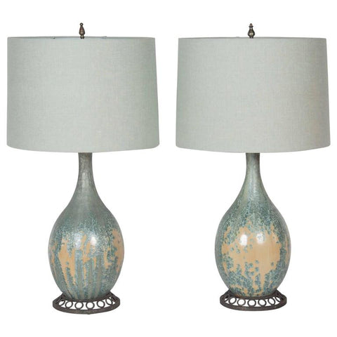 Pair of Celadon Pottery Lamps by Pierre-Adrien Dalpayrat and Louis Katona