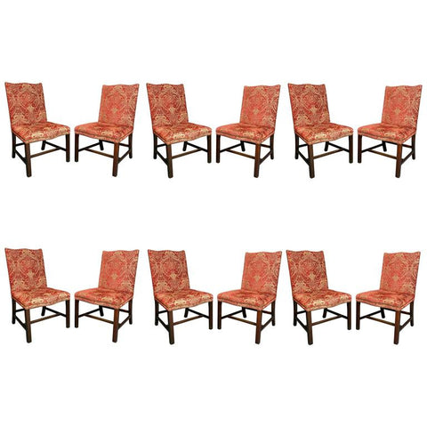 Set of 12 George III Style Mahogany Dining Chairs