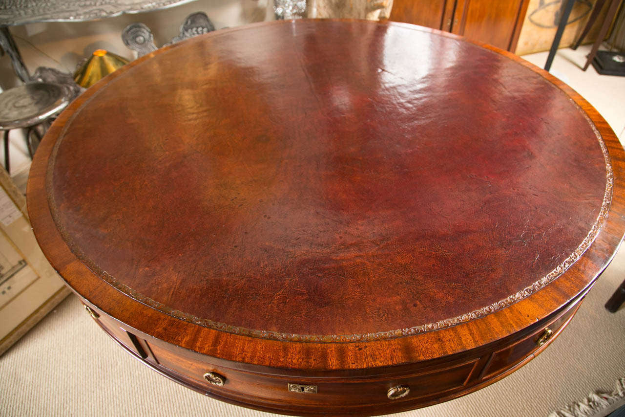 Rotating Mahogany Drum Table