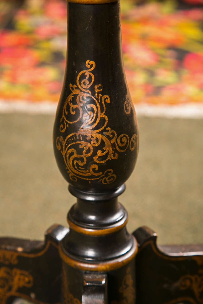 Ebonized & Painted Regency Tripod Table