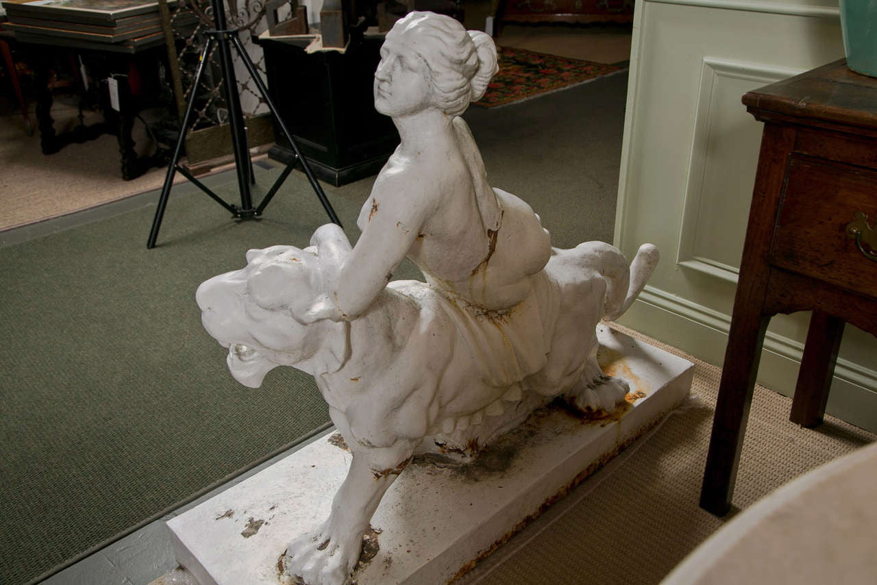 Cast Iron Figure Of Ariadne on the Back of a Panther