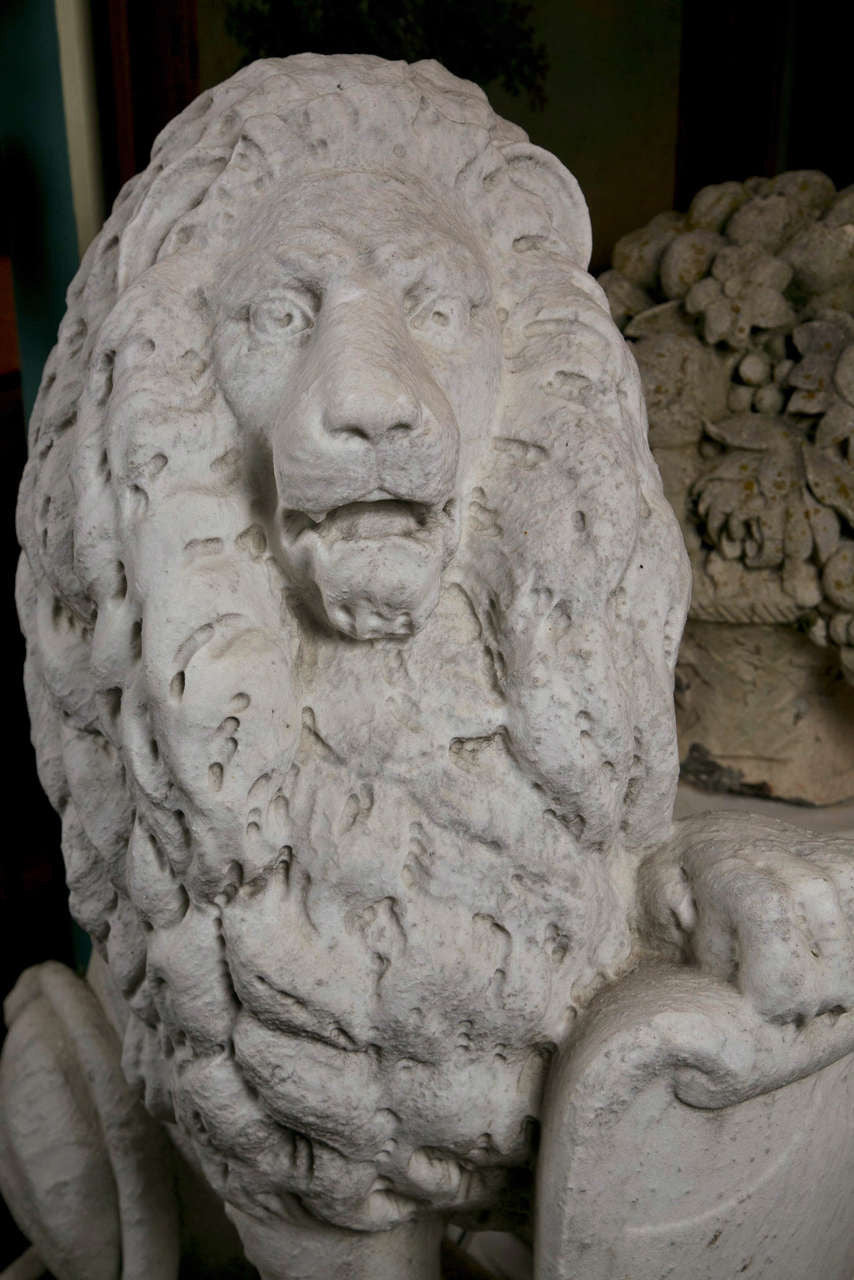 Pair of Carrara Marble Armorial Lions